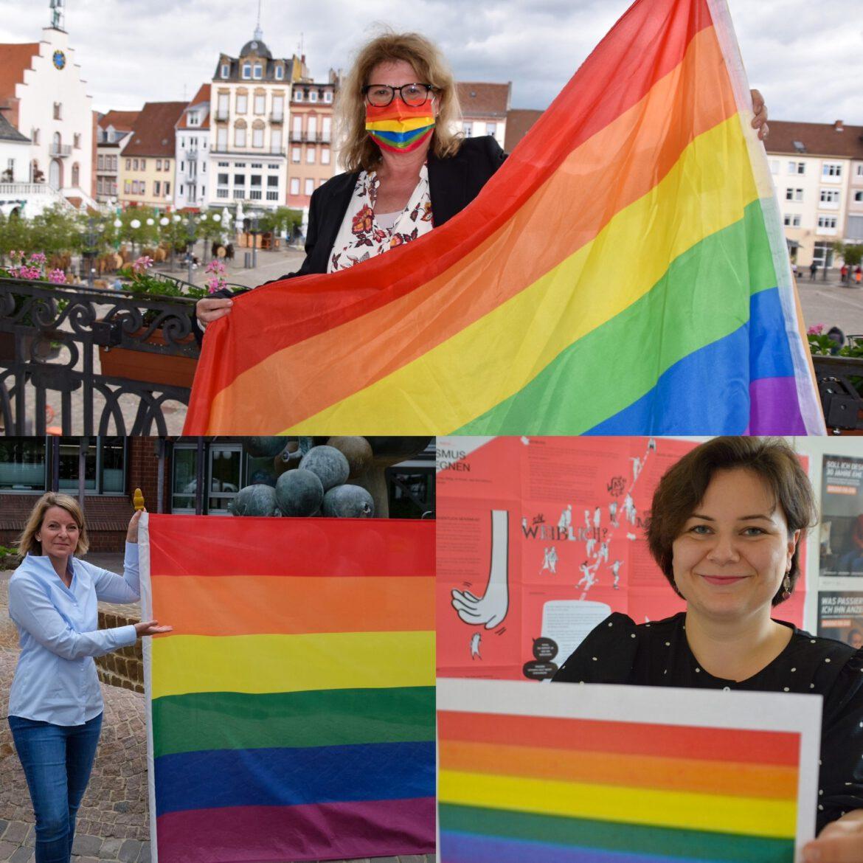 IDAHOBIT und Regenbogenfahne. Flagge zeigen für Toleranz. Am 17. Mai