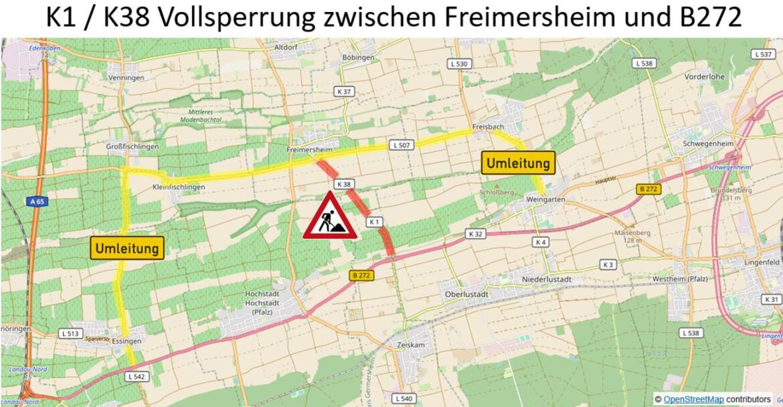 Kreisstraße K1/K38 zwischen Freimersheim und B272 für zwei Tage voll gesperrt. 27./28. Juli