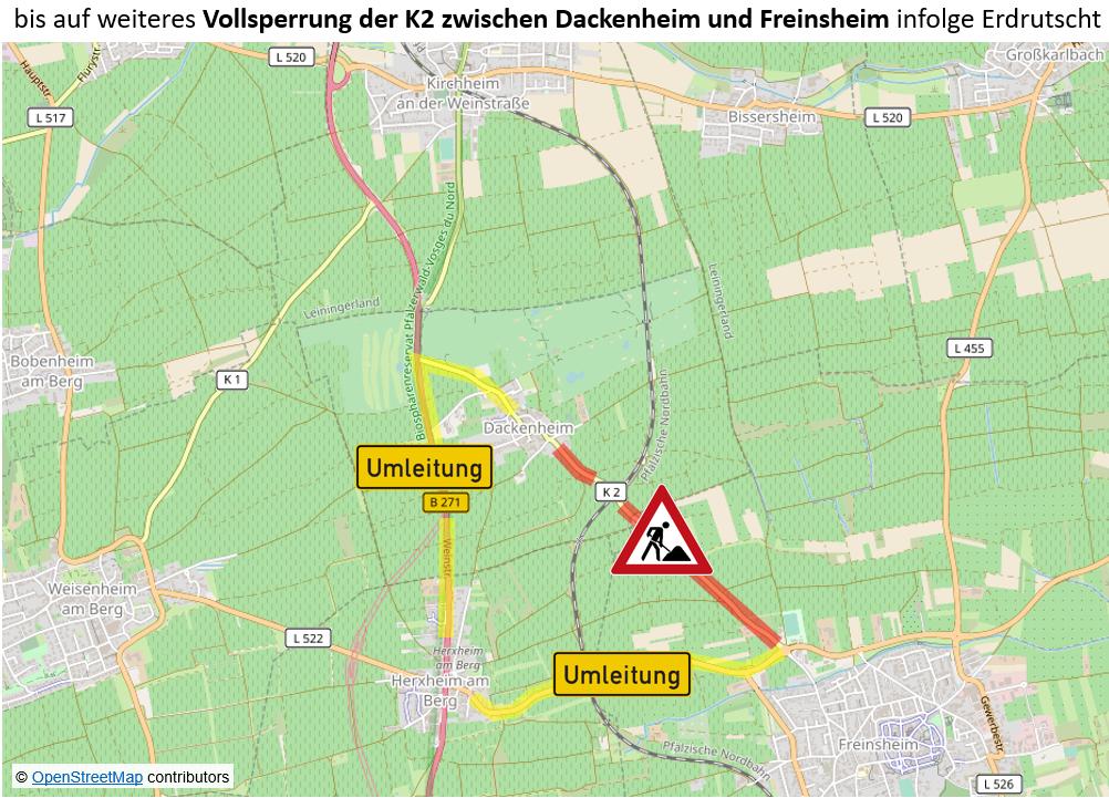 Erdrutsch bei Freinsheim.Vollsperrung der Kreisstraße zwischen Freinsheim und Dackenheim