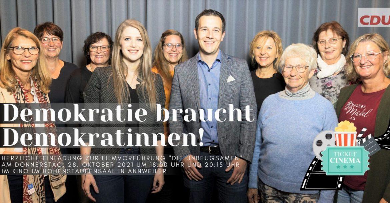 """Kino Digital im Hohenstaufensaal.CDU Annweiler lädt ein zur Filmvorführung """"Die UNBEUGSAMEN"""""""