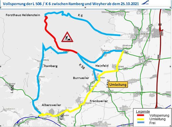 Vollsperrung Modenbachtal zwischen Ramberg und Weyher.Ab Montag, 25. Oktober